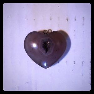 Geode purple heart pendant